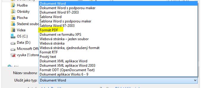 Uložení práce v Microsoft Word do PDF.